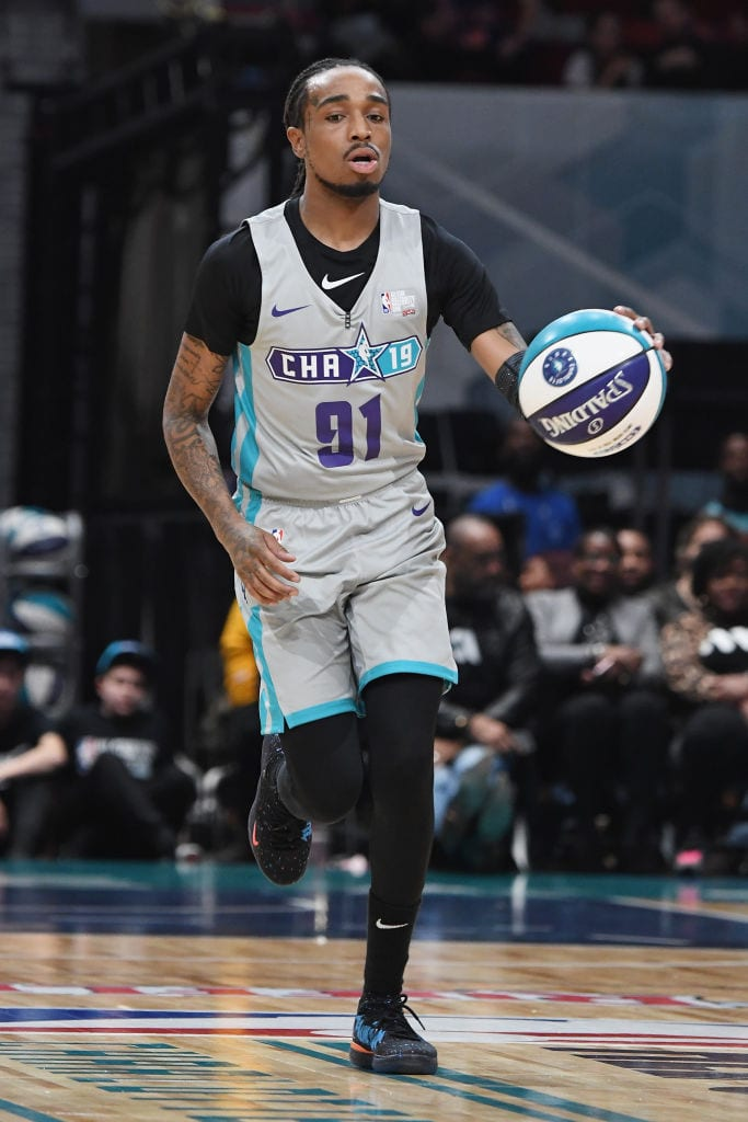 Quavo handles the ball during the 2019 NBA All-Star Celebrity Game