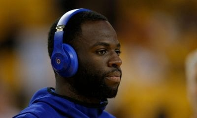 Draymond Green #23 of the Golden State Warriors looks on during the warm up