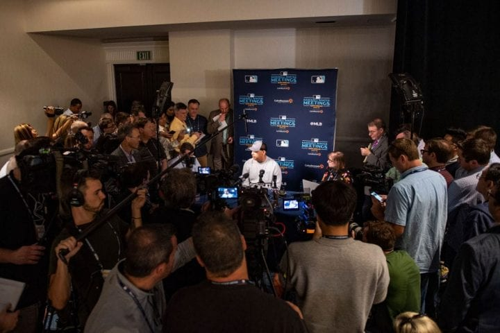 Manager Alex Cora of the Boston Red Sox speaks with the media during the 2019 Major League Baseball Winter Meetings