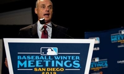 Major League Baseball Commissioner Rob Manfred speaks during the 2019 Major League Baseball Winter