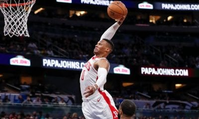 Russell Westbrook #0 of the Houston Rockets goes up for a dunk