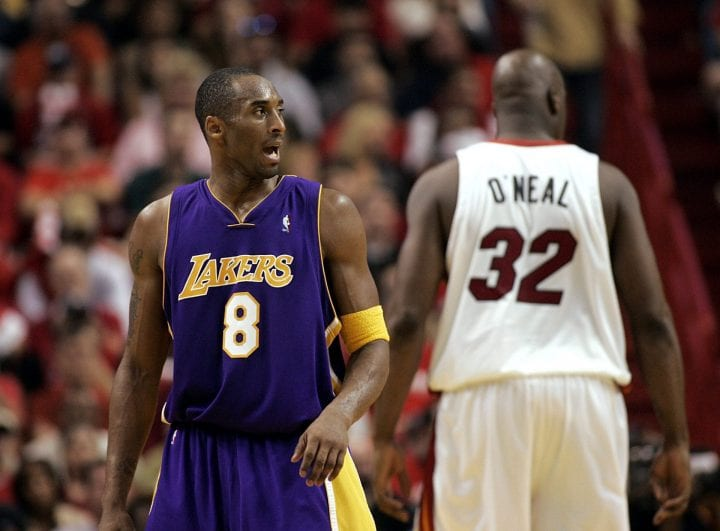 Shaquille O'Neal #32 of the Miami Heat shows his back to Kobe Bryant #8 of the Los Angeles Lakers