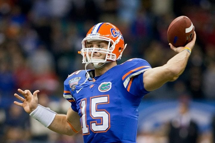Florida quarterback Tim Tebow passes the ball during warmups