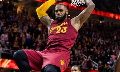 LeBron James #23 of the Cleveland Cavaliers dunks during the second half