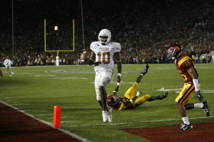 Texas Longhorn quarterback Vince Young scores the winning touchdown during the 2006 Rose Bowl game