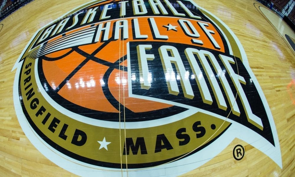 General view of the Basketball Hall of Fame Logo prior to the college basketball game