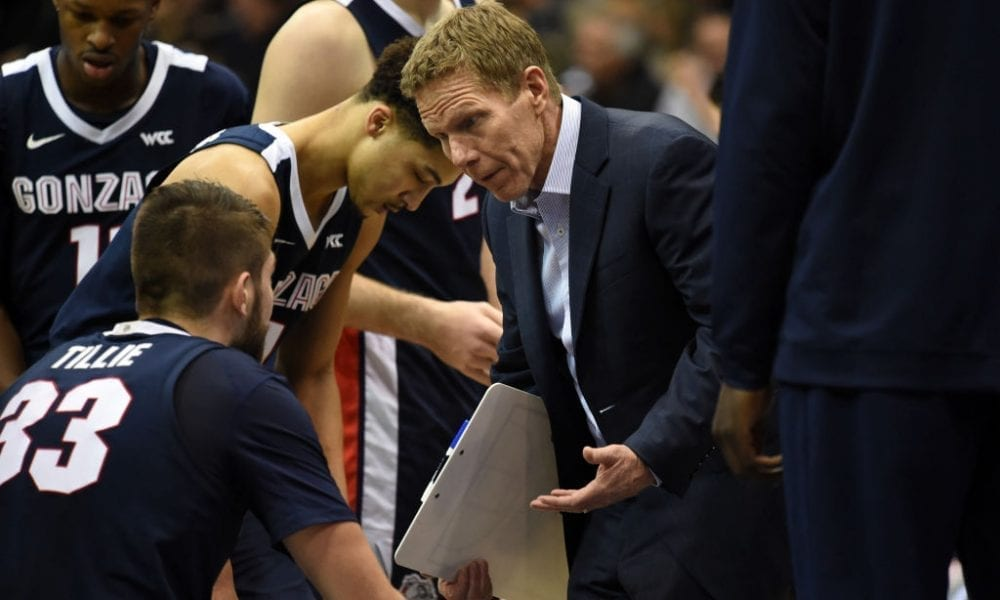 Gonzaga head coach Mark Few talks with Gonzaga (33) Killian Tillie (F) during a college basketball game