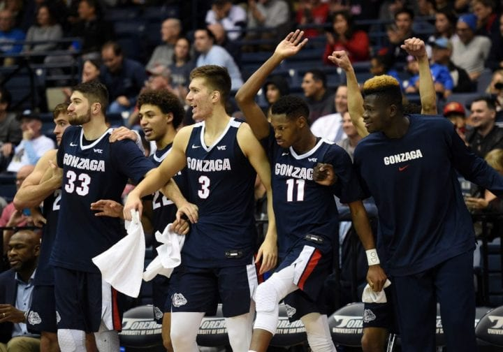 The Gonzaga bench celebrates after a dunk