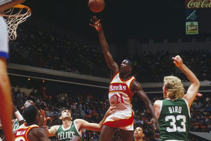 Atlanta Hawks' Dominique Wilkins #21 jumps for a layup against the Boston Celtics