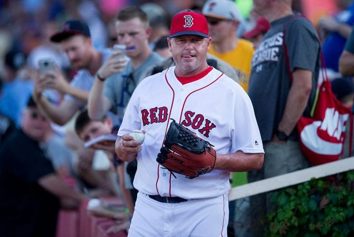 On a day when the heat index reached 100 degrees, Roger Clemens, wearing his Red Sox jersey and cap
