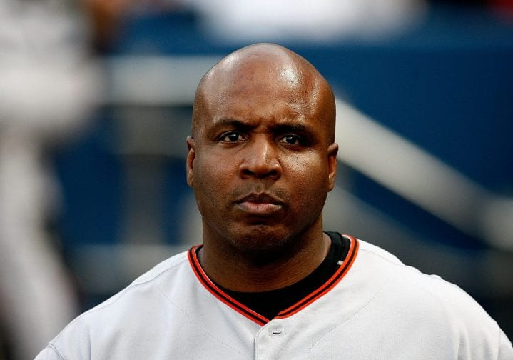 Barry Bonds #25 of the San Francisco Giants looks on during the game