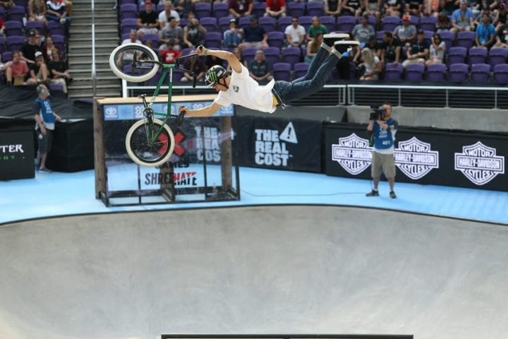Kevin Peraza competing in Toyota Men's BMX Park during X Games Minneapolis 2018