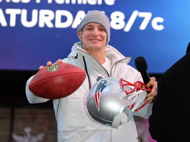 Rob Gronkowski is seen in Times Square